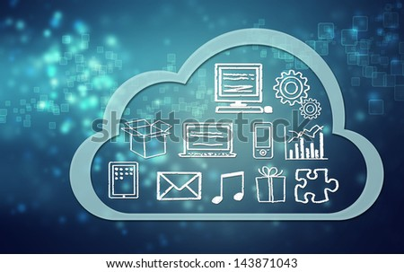 Cloud computing concept on blue background - stock photo