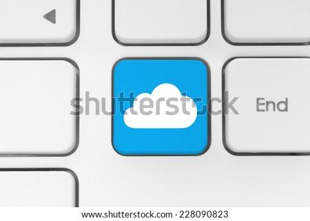 Cloud computing concept on computer keyboard  - stock photo