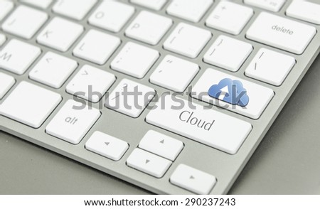 cloud computing concept on computer keyboard - stock photo