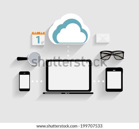Cloud Computing Concept on Different Electronic Devices.  Illustration - stock photo