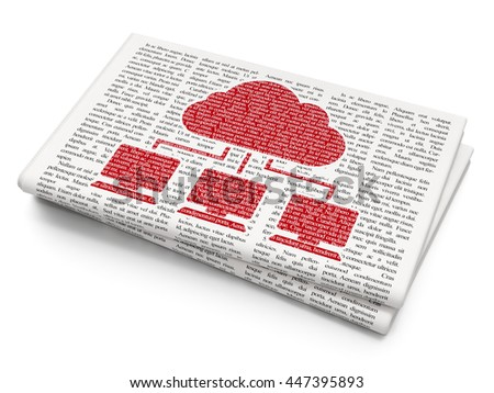 Cloud computing concept: Pixelated red Cloud Network icon on Newspaper background, 3D rendering - stock photo