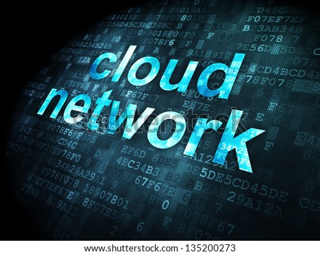 Cloud computing concept: pixelated words Cloud Network on digital background, 3d render - stock photo