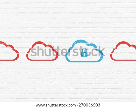 Cloud computing concept: row of Painted red cloud icons around blue cloud with padlock icon on White Brick wall background, 3d render - stock photo