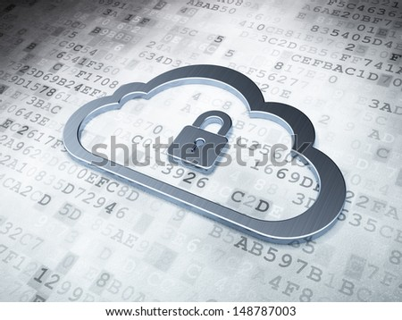 Cloud computing concept: Silver Cloud With Padlock on digital background, 3d render - stock photo