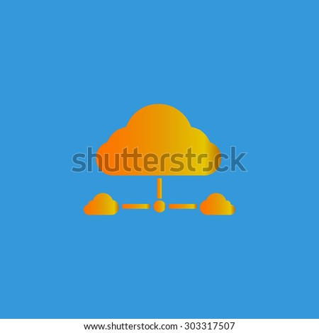 Cloud computing concept. Simple flat icon on blue background - stock photo