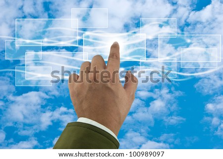 Cloud computing concept with business hand - stock photo