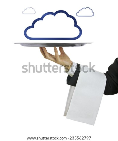 Cloud computing concept with copy space and white background - stock photo