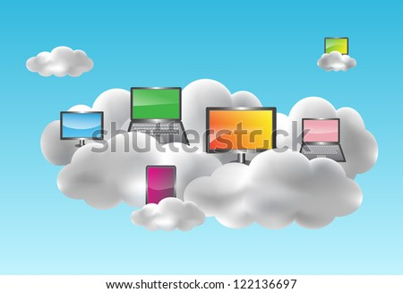 Cloud computing concept with desktops, notebooks, netbooks and smartphones on the clouds - stock photo