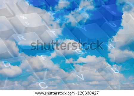 Cloud computing concept with keyboard keys close-up - stock photo