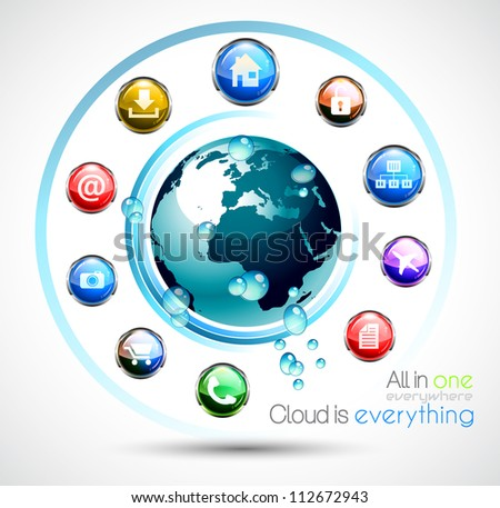 Cloud Computing conceptual image poster with a lot of themed icons like network, camera, home, downloads, files and so on. Ideal for technology abstract covers. - stock photo