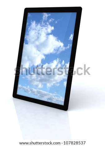 cloud computing connection on tablet pc, isolated on white background - stock photo