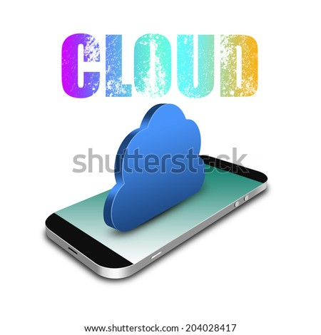 Cloud Computing Connection with smartphone,cell phone illustration - stock photo