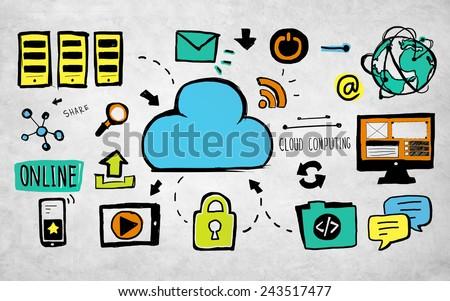 Cloud Computing Data Storage Communication Security Concept - stock photo