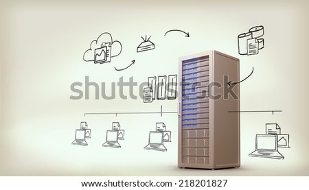 Cloud computing doodle against digitally generated server tower - stock photo