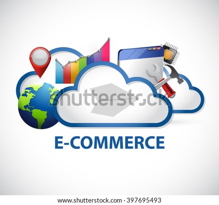 cloud computing ecommerce adwords sign illustration design graphic - stock photo