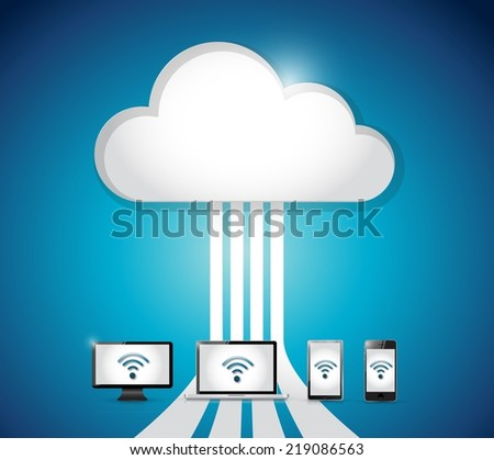 cloud computing electronics internet connection. illustration design over a blue background - stock photo