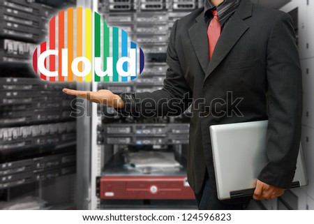 Cloud computing in data center room - stock photo