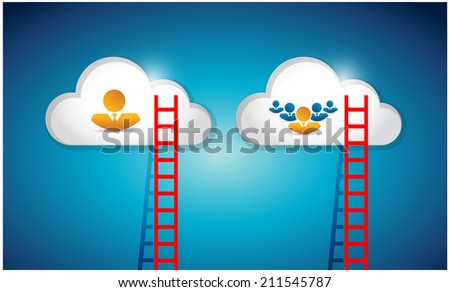 cloud computing ladder avatar connection illustration design over a blue background - stock photo