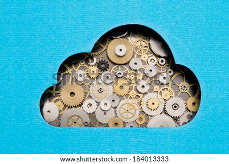 Cloud computing mechanism. Cloud formed by gears and cogs - stock photo