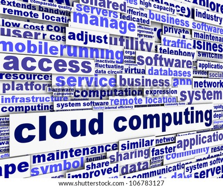 Cloud computing message concept. Modern computer application poster - stock photo