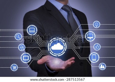 Cloud Computing on Businessman Hand  - stock photo