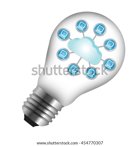 Cloud Computing or Social Network Icon Inside Light Bulb Isolated on White Background - stock photo