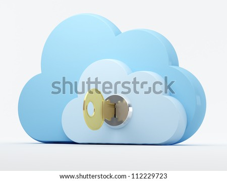 Cloud computing, security - stock photo