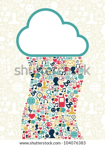 Cloud computing social media network background with icons set. - stock photo