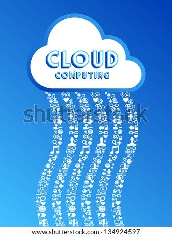 Cloud computing social media network concept background. - stock photo
