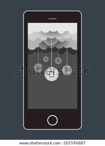 Cloud computing storage, applications on a mobile phone - stock photo