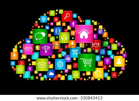 Cloud Computing symbol. apps icons set isolated on black - stock photo