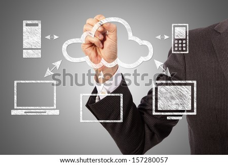 Cloud computing, technology connectivity concept - stock photo