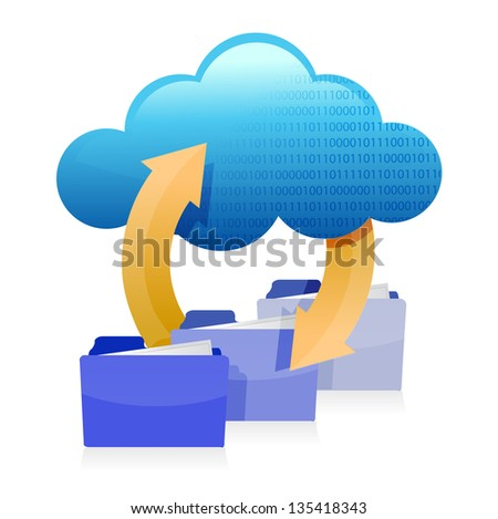 cloud computing technology information accessibility illustration design over a white background - stock photo