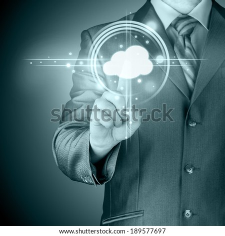 Cloud computing touchscreen interface - stock photo