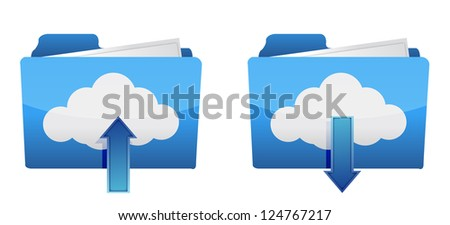 Cloud computing upload and download icons illustration design - stock photo