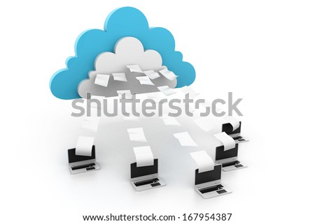 Cloud computing with data transferring - stock photo
