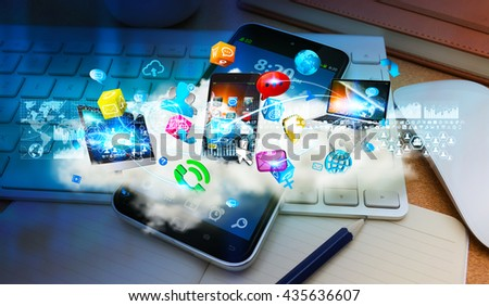Cloud connecting tech devices with each other in modern office '3D rendering' - stock photo