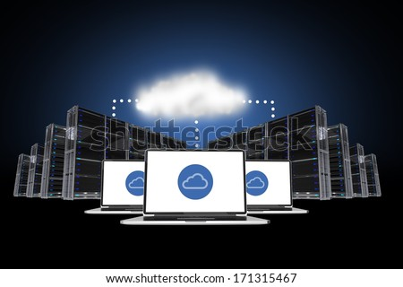 Cloud Connections Abstract Concept Illustration with Data Centers and Computer Connected via Cloud Services. - stock photo