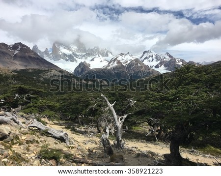 Cloud-covered Fitz Roy in Argentina - stock photo