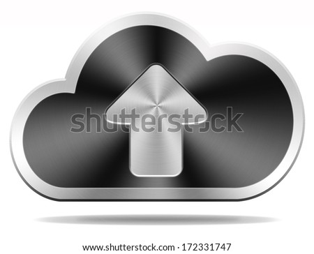 cloud data upload icon uploading file document photo music or video on cloud  storage database as a backup service - stock photo