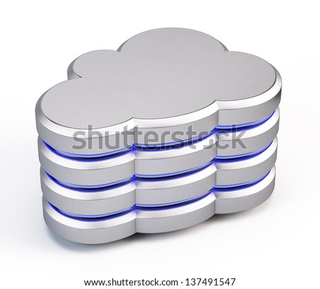 Cloud database icon - stock photo