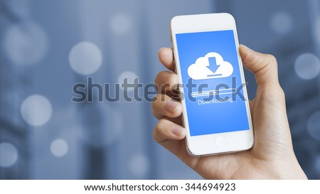 Cloud download to mobile phone from stored data on server - stock photo