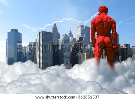 cloud formation including a red giant and skyline - stock photo