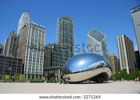 "Cloud Gate sculpture aka ""The bean"", Millennium Park, Chicago, Illinois - stock photo"