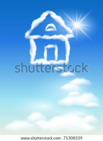 Cloud house in the sky and sun - stock photo