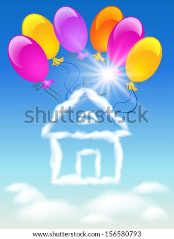 Cloud house in the sky and sun balloons - stock photo