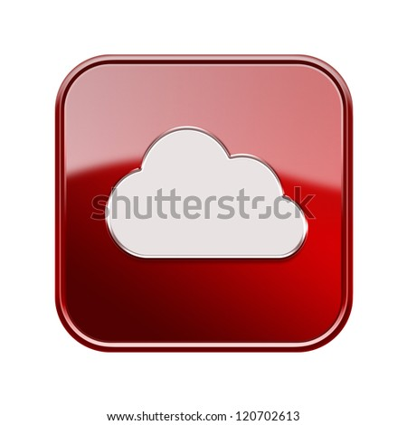Cloud icon glossy red, isolated on white background - stock photo