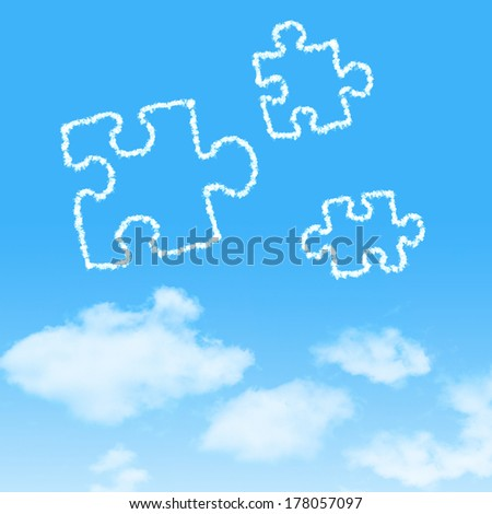 cloud icon with design on blue sky background - stock photo