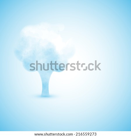Cloud in the form of a tree, creative illustration - stock photo