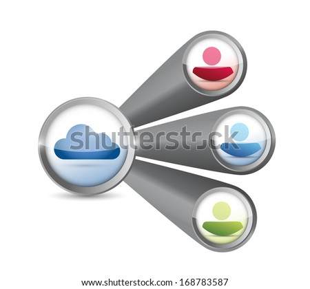 cloud link storage network connection. illustration over a white background - stock photo